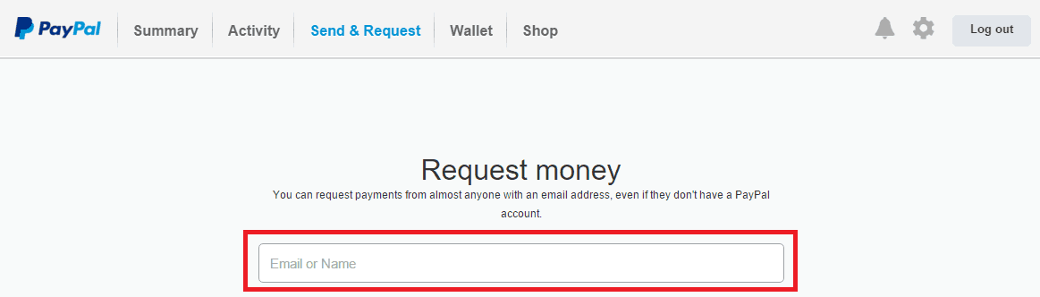 Paypal Request money using Email