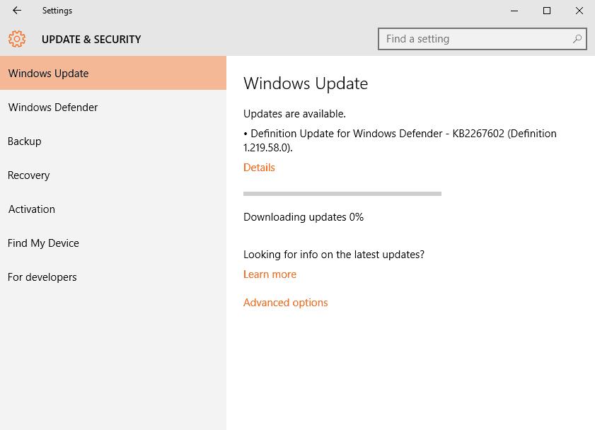 Windows 10 Ενημερώσεις