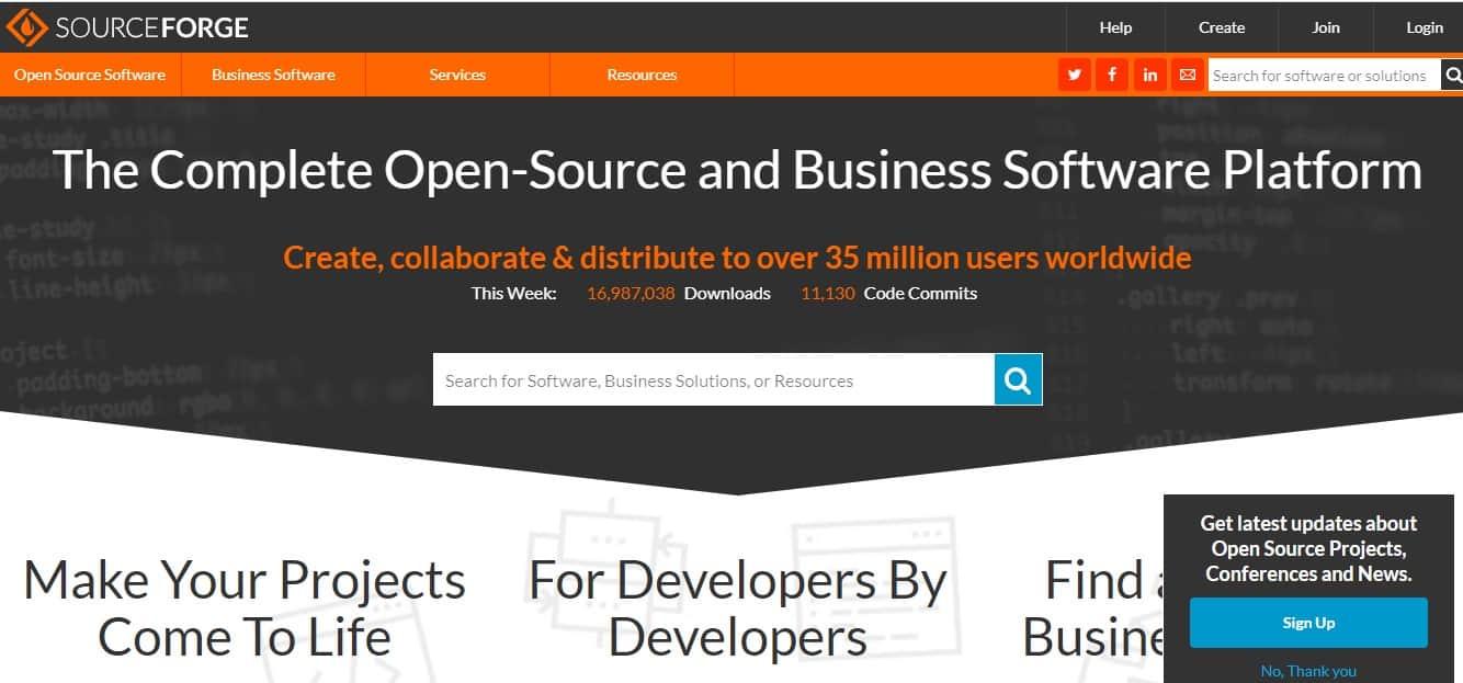 SourceForge δωρεάν εφαρμογές