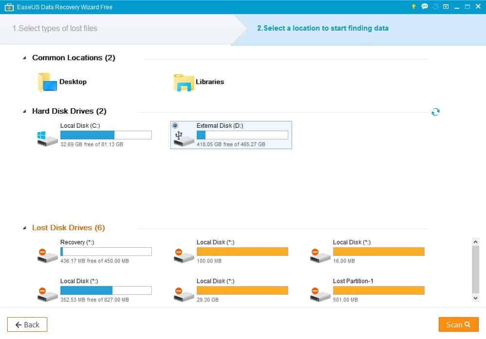 Ανάκτηση Δεδομένων μέσω του EaseUS Data Recovery Wizard