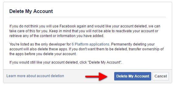 Πως να κάνεις οριστική διαγραφή του Facebook προφίλ σου