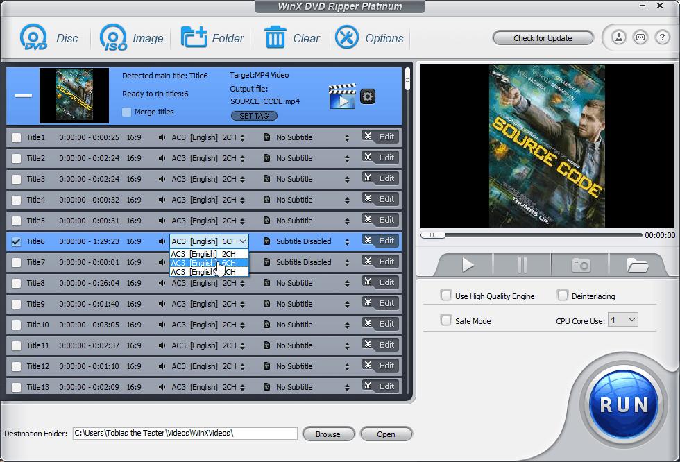 Αντιγραφή DVD στον Υπολογιστή, Μετατροπή σε Mp4 με το WinX