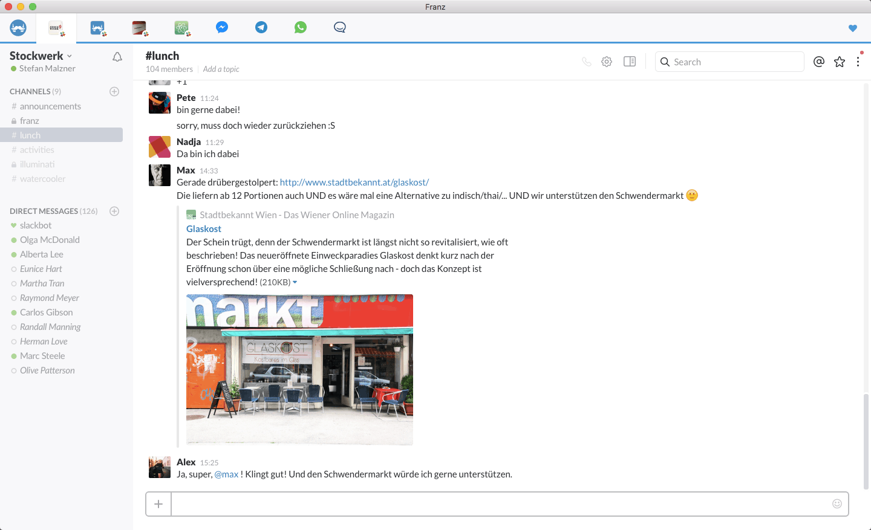 Franz - Σύνδεση Facebook Messenger, WhatsApp και Telegram σε μια συνομιλία