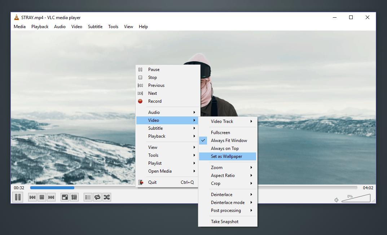 Κινούμενη επιφάνεια εργασίας με το VLC