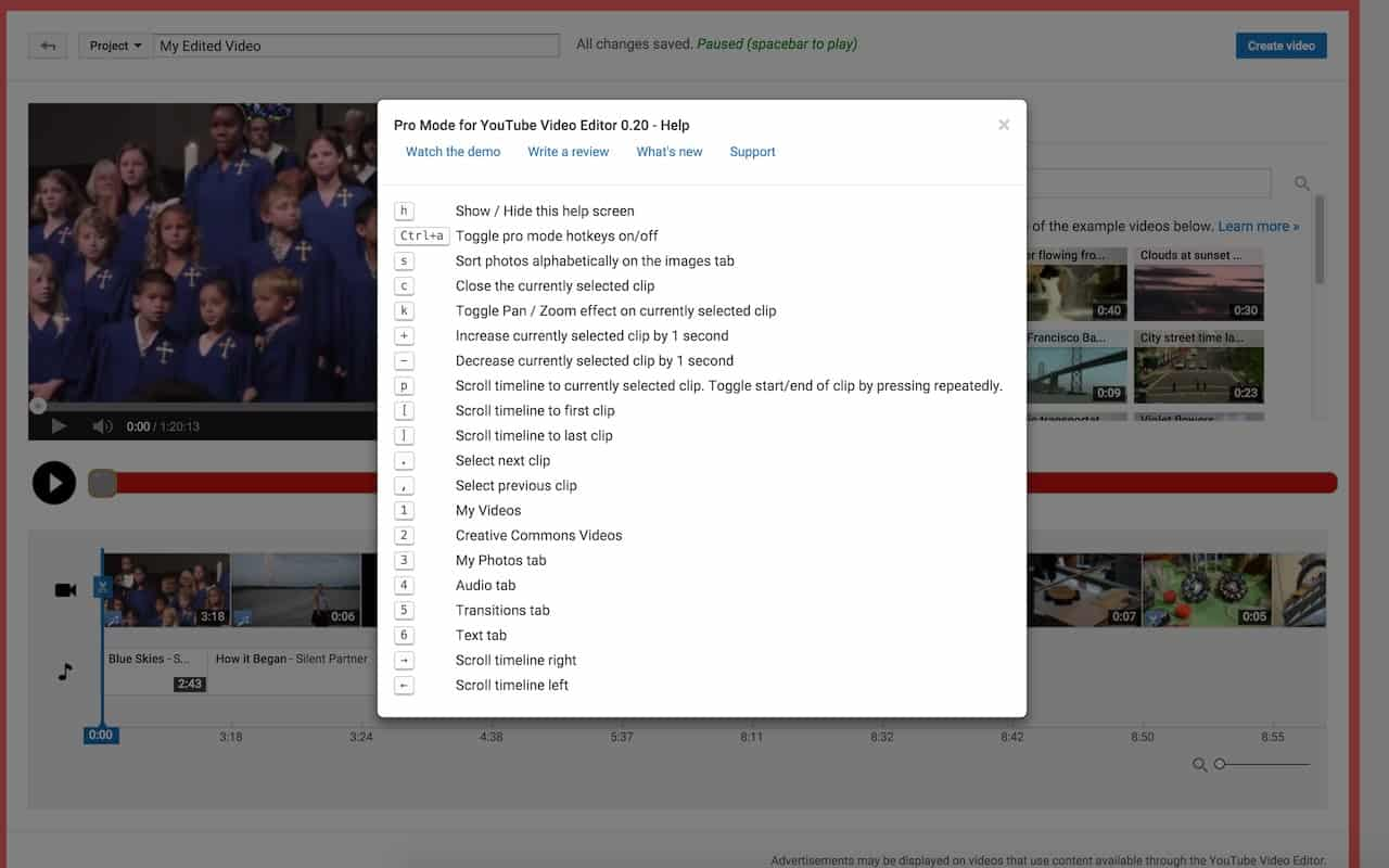 Pro Mode for YouTube Video Editor