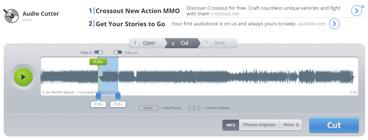 Κόψιμο τραγουδιών MP3 μέσω του Online MP3 Cutter