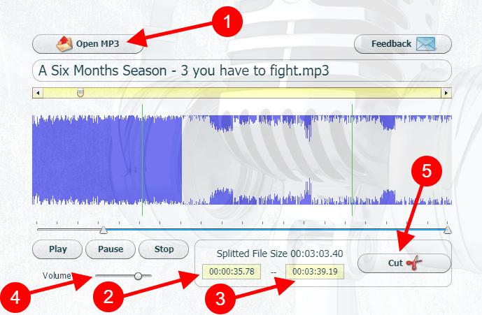 Κόψιμο τραγουδιών MP3 και ένωση με τοCut MP3 Files Online