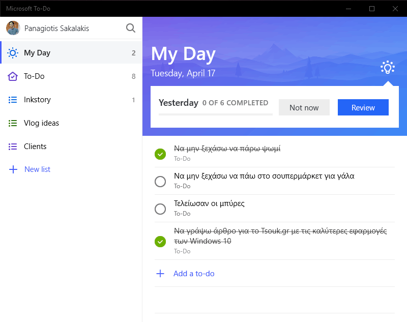 Microsoft To-Do Windows 10
