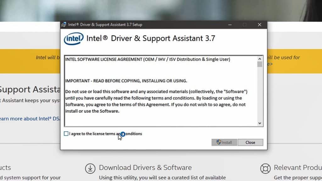 Εγκατάσταση του Intel Driver Support Assistant