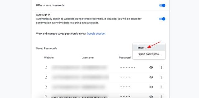 Εισαγωγή κωδικών πρόσβασης