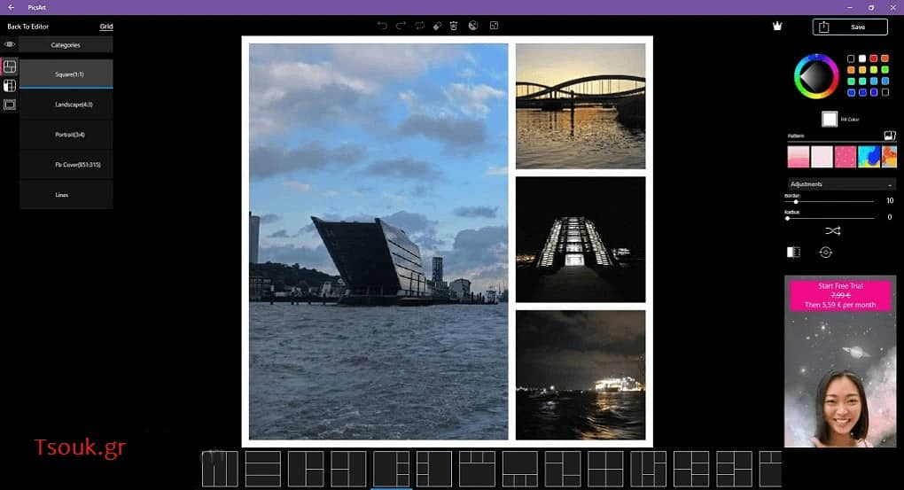 δημιουργία κολάζ φωτογραφιών PicsArt